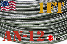 Stainless Steel Braided Line Hose (AN-12) 1500PSI for Fuel / Oil / Water / Gas