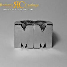 Solid Sterling Silver Personalised Initial Ring Platinum Dipped 47g