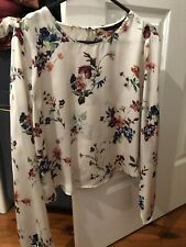 Zara Floral Silky Long Sleeve Top Size L (10-12) As New