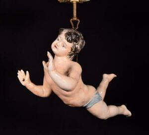 *Vintage French Porcelain Chandelier/Hanging Lamp with Putto Hand Painted