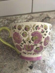 Dutch Wax Coastline Imports Hand painted Purple Floral Coffee Mug tea cup green