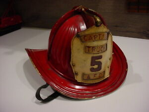 used Cairns & Brother 1955 Aluminum Senator Fire Helmet w/leather shield + strap