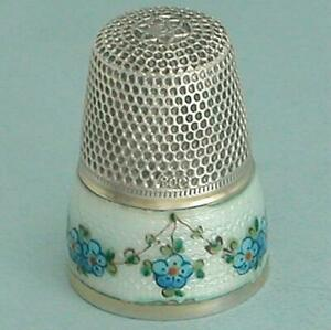 Antique Enameled Forget Me Nots Silver Thimble * Germany * Circa 1900s