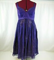 Nicole Miller Collection Purple Silk Lurex Party Dress Cocktail Formal Size 8