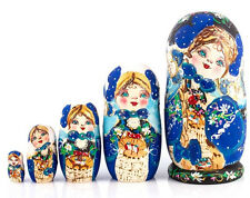 Nesting Dolls Matryoshka Made in Russia Hand Painted Blue Russian Doll  7''