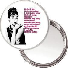 """Audrey Hepburn Makeup Mirror """"I Believe in Pink..."""" in a black organza bag. NEW"""