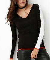 V Neck Top Size UK 8 Ladies Black & White Colour Block T-Shirt Tee NEW #1453