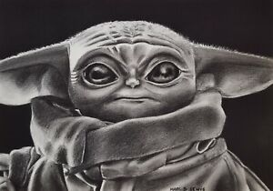BABY YODA aka GROGU 'THE MANDALORIAN' ORIGINAL A4 CHARCOAL DRAWING ON PAPER
