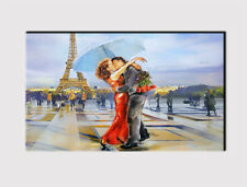 "X large canvas 18"" x32"" WALL Parigi Torre Eiffel Avenue LOVERS Print Picture 310"