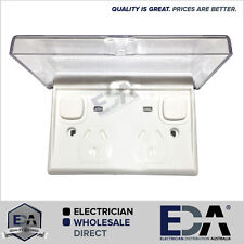 WeatherProof IP 66 Double GPO Power Point and Neon Outside Outlet Clear Lid NEW