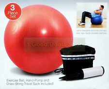 "New Gym Ball Swiss Exercise Yoga Ball Fitness Core 65cm 25"" Inch RED"