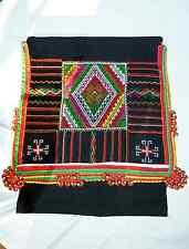Black Hmong: New Black Tribal Head (or Dresser) Scarf #3:Colorful Trim ~ Vietnam