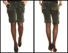 BNWT Zona Brera Green Ladies Shorts Legging Velvet Stretch Fit Studs UK 10/12/14