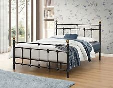 Atlas Antique Brass Black Double 4FT6 135CM Metal Bed Frame Vintagre Design