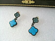 DARK METAL TURQUOISE COLOUR STONE DROP EARRINGS