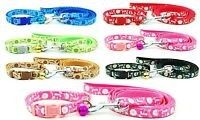 Dog Collar and Lead Leash Set Small Medium Puppy Nylon Tough Clip Strong Pink