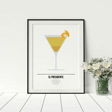 El Presidente Cocktail Art Alcohol Recipe Poster Livingroom Wall Artwork Framed