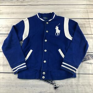 Vintage Polo Ralph Lauren Button Up Big Pony Varsity Blue White Sweater M 10-12