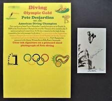 DESJARDINS PETE AMERICAN DIVING OLYMPIC GOLD MEDAL 1928 SIGNED POSTCARD