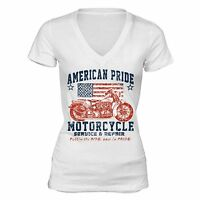 American Flag distressed Motorcycle 4th of July T-shirt Clothing USA Shirt White