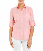 NWT $100 Sportscraft `Lucie' Linen Shirt with adjustable sleeves Watermelon 8-16