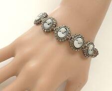 Antique 925 Sterling Silver Blue Agate Hard Stone Cameo Marcasite Link Bracelet