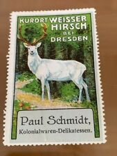 POSTER STAMP VIGNETTE GERMANY WHITE DEER FROM DRESDEN  from 1913
