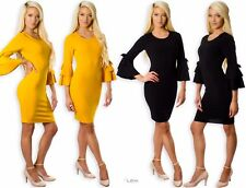 Ladies Women's 3/4 Bow Tie Layered Bell Sleeves Bodycon Wiggle Pencil Midi Dress