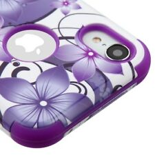 FOR APPLE IPHONE XR PURPLE HIBISCUS FLOWER TUFF 3-PIECE SHOCKPROOF CASE COVER