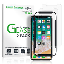 iPhone X amFilm Tempered Glass Screen Protector with Installation Tray (2 Pack)