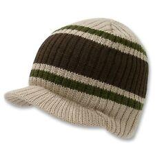 Khaki Brown Striped Campus Visor Jeep Skull Knit Winter Beanie Cap Hat Hats
