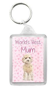 Cockapoo (Cream) Keyring 'World's Best Mum' Keyfob Fun Birthday Mothers Day Gift