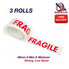 Printed Fragile Parcel Packing Tape 48mm*66m*46mic, Strong, Low Noise (3 Rolls)