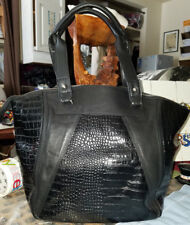 Walter Baker - Large Black Embossed Faux Croc. Leather shopper Tote Bag #4