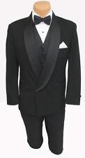 Boys Black Double Breasted Tuxedo Jacket with Pants Cummerbund & Bow Tie