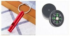 2 x Emergency Whistles & Mini Compass, Camping, Hiking, Orienteering