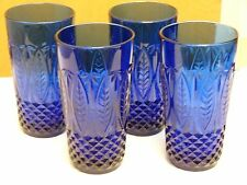 4 Vintage ARCOROC Cobalt Blue Made In France Drinking Glass TUMBLERS STURDY
