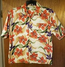 Hawaiian Aloha Friday Shirt Orange Puple Floral by True Grit 100% Cotton Size L