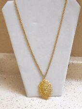 VINTAGE SIGNED LISNER SWIRLS OF SHAPES FILIGREE  GOLD PENDANT 24 INCH  NECKLACE