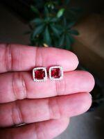 2Ct Princess Cut Earrings Red Ruby Earrings Diamond Stud Earrings 14K White Gold