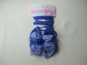 Back To School Card of 2 Gingham Bow Hairclips, 2 Ponios 2 Side Clips Royal Blue