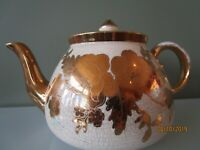 Vintage Gold Beige Gibsons Staffordshire Teapot England