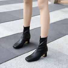 Fashion Women's Square Toe Back Zip Faux Leather Ankle Boots Chunky Heel Shoes