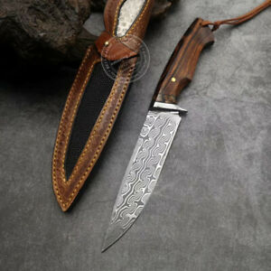108 LAYERS DAMASCUS HUNTING KNIFE BOWIE RESCUE HANDMADE KNIFE FIXED BLADE BLACK