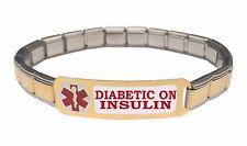 Diabetic On Insulin Diabetic 9mm Italian Charm Medical Alert Starter Bracelet