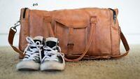 "30"" Genuine Soft Leather Duffel Weekend Overnight Travel Gym Bag Holdall Luggage"