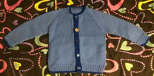 "Sweater Toddler Boy Girl 3-4T VTG Handmade Knitted Yarn Chest 13"" Button ""HELLO"""