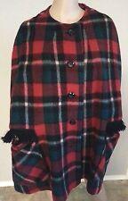 VTG 50's Lydia Montreal Tartan Plaid Mohair Wool Blanket Cape Coat