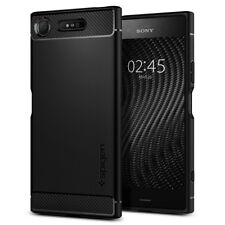 Sony Xperia XZ1 | Spigen® [Rugged Armor] Black Protective Slim TPU Cover Case