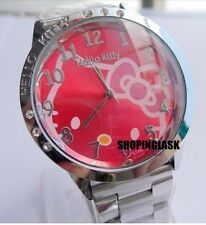 Reloj Hello Kitty watch en acero. Steel case watch A2086 Fondo Fucsia